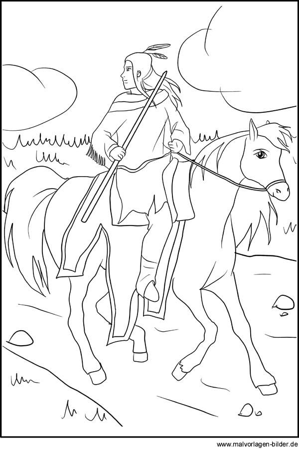 Indianer auf einem Pferd - Ausmalbild zum kostenlosen Ausdrucken