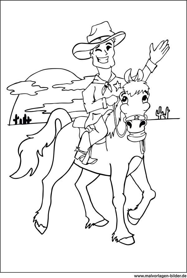 Cowboy Auf Einem Pferd Ausmalbilder Zum Ausdrucken