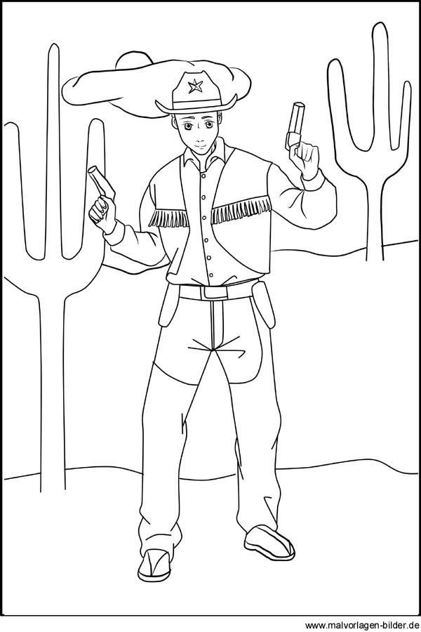 Cowboy  Gratis Malvorlagen zum Ausmalen
