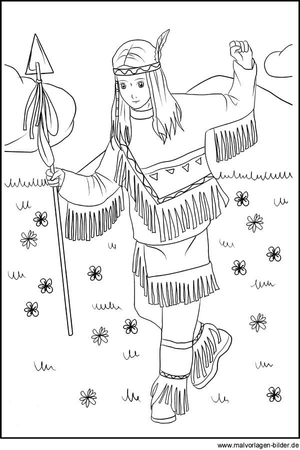 indianer mädchen - gratis ausmalbilder