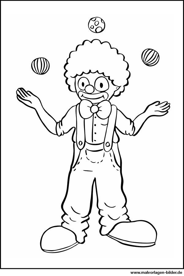 Ausmalbild Clown Jongliert Bälle