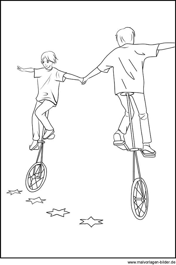 gratis malvorlagen von akrobaten auf dem einrad