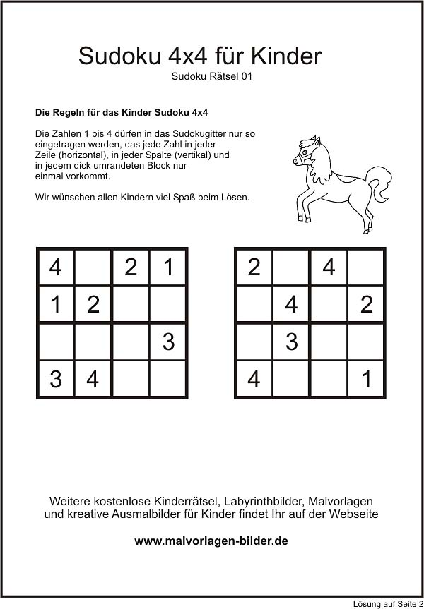 Kinder Sudoku 4x4 zum gratis Download