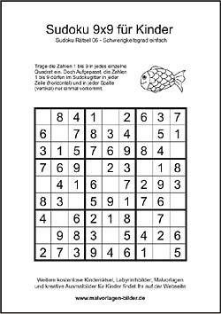 kinder sudoku zum kostenlosen ausdrucken mit l246sung