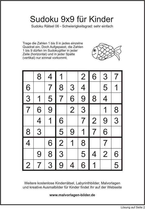 Sudoku 9x9 sehr einfach für Kinder