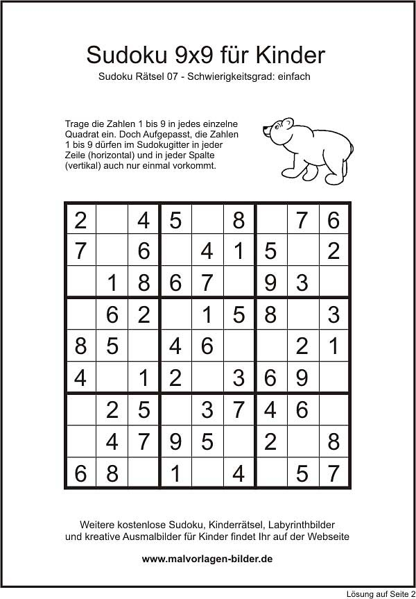 Kinder-Sudoku 9x9 einfache Version mit Lösung
