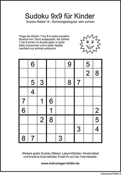 Kinder Sudoku zum kostenlosen Ausdrucken mit Lösung