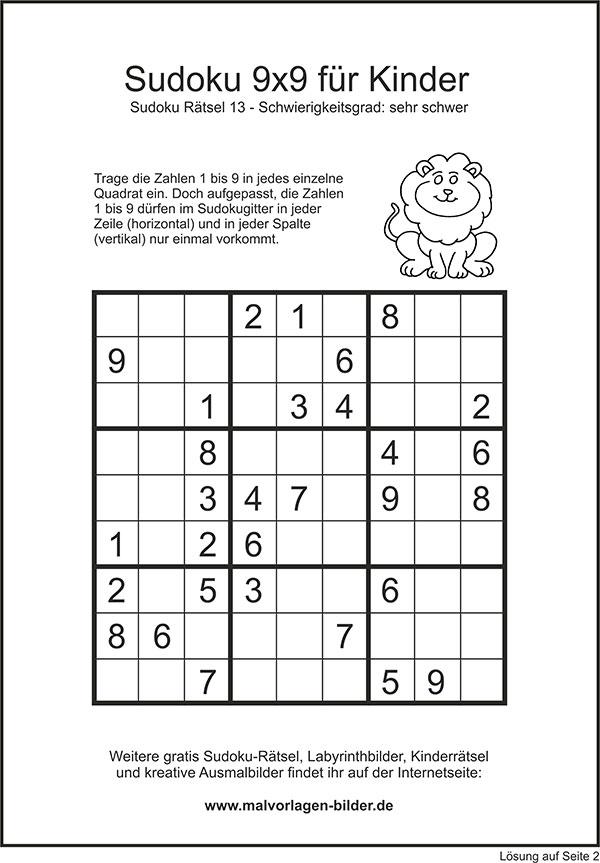 Sudoku 9x9 Sehr Schwer Mit Lösung